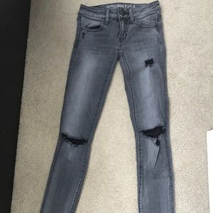 American Eagle Ripped Gray Skinny Jeans
